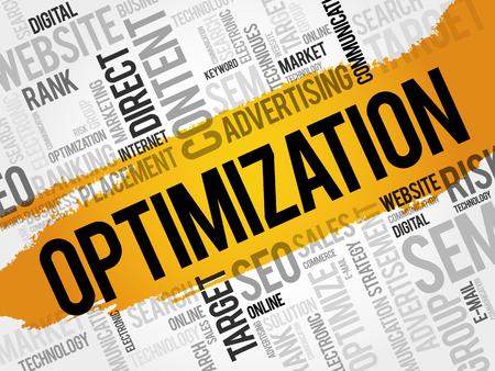 keywords link: OPTIMIZATION word cloud, business concept
