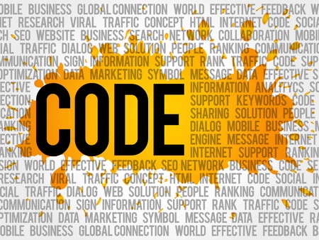 CODE word cloud collage, technology business concept background