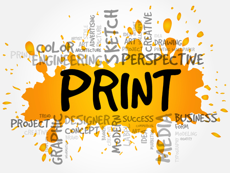 PRINT word cloud, creative business concept background Illustration
