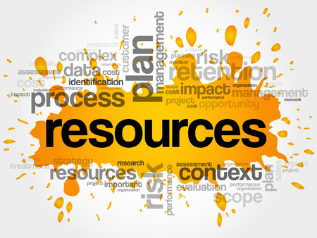 RESOURCES word cloud collage, business concept Illustration