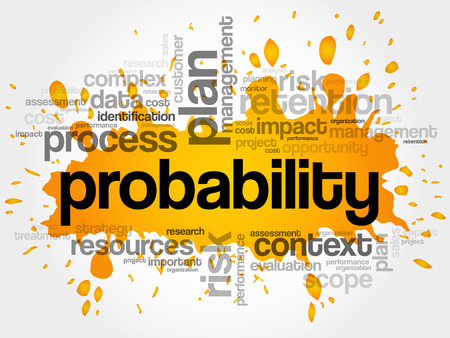 Probability word cloud collage, business concept background Illustration