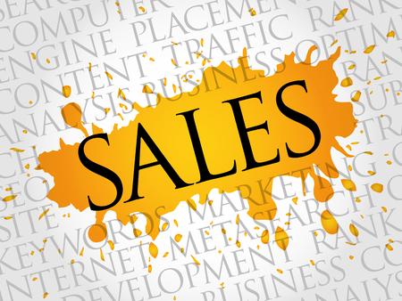 Sales word cloud, business concept Illustration