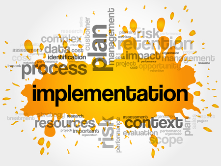 Implementation word cloud collage, business concept