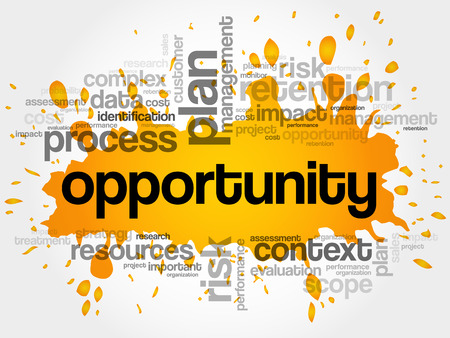 Opportunity word cloud collage, business concept background Illustration