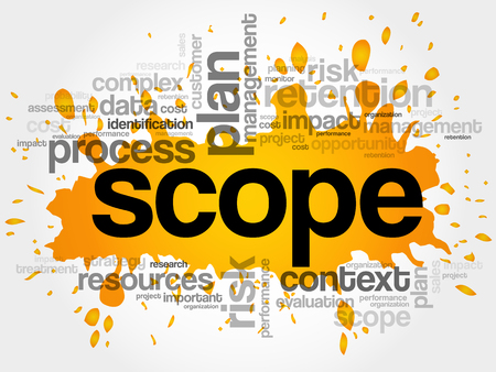 スコープの単語の雲、ビジネス コンセプトの背景