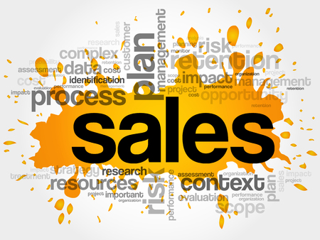Sales word cloud, business concept background