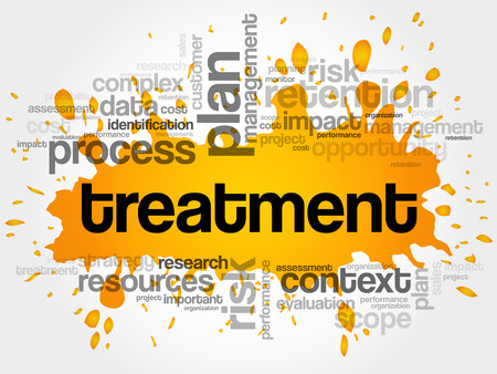 Treatment word cloud collage, business concept background