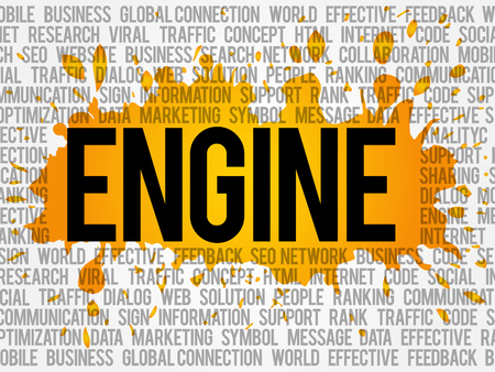 meta: ENGINE word cloud collage, business concept background Illustration