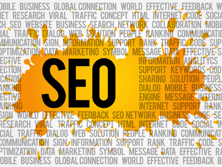 keyword: SEO (search engine optimization) word cloud collage, business concept background