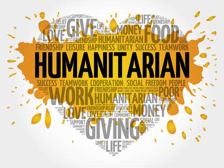 humanitarian: Humanitarian word cloud, heart concept Illustration