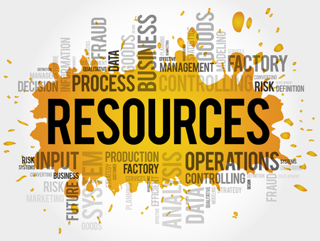 RESOURCES word cloud, business concept Illustration