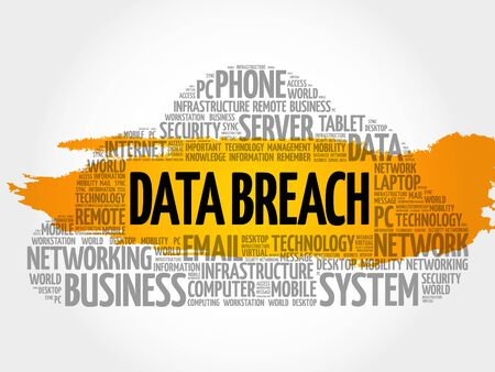 intentional: Data Breach word cloud collage, technology concept background Illustration