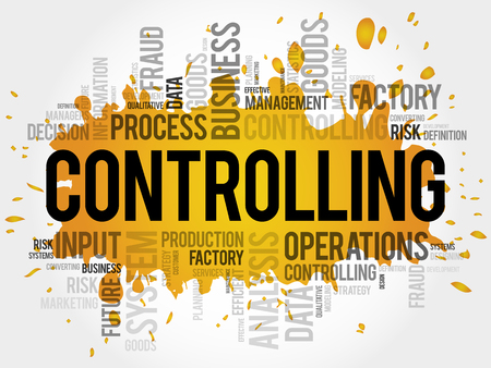 Controlling word cloud collage, business concept background