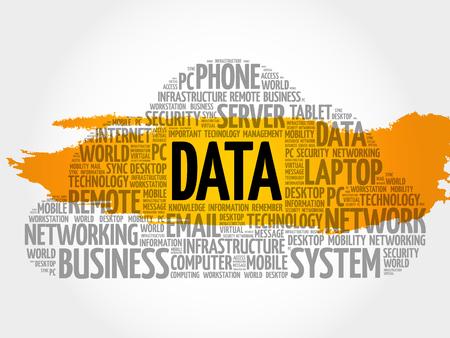 Data word cloud, business concept Illustration