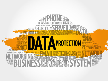 Data protection word cloud collage, technology concept background