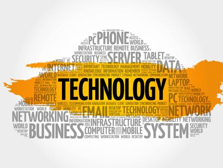 Technology word cloud collage, technology concept background