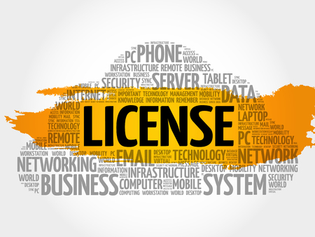 drivers license: LICENSE word cloud collage, technology concept background