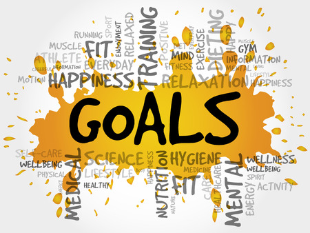 work less: GOALS word cloud, fitness, sport, health concept Illustration