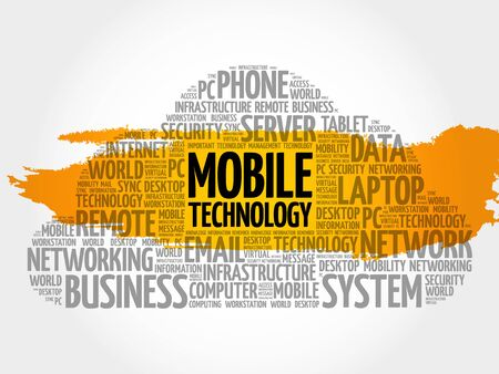 Mobile technology word cloud concept