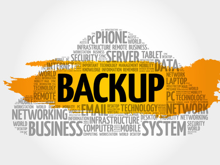 BACKUP word cloud collage, technology concept background
