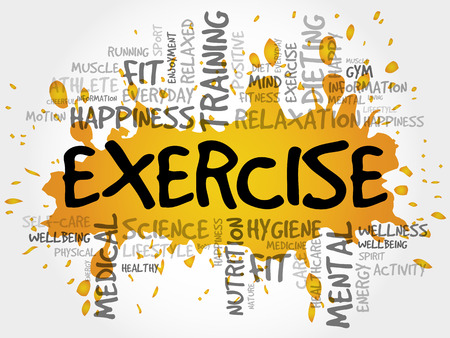stability: EXERCISE word cloud collage, health concept background