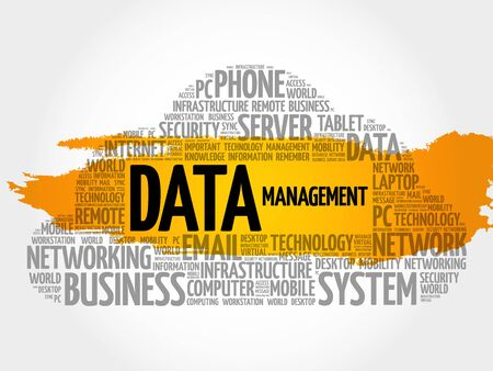 Data Management word cloud collage, technology concept background Illustration