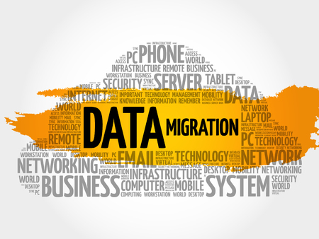 Data Migration word cloud collage, technology concept background