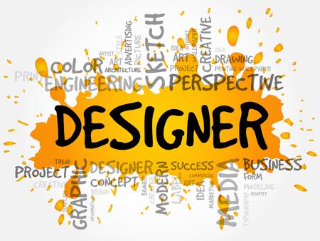 DESIGNER word cloud, creative business concept background Illustration
