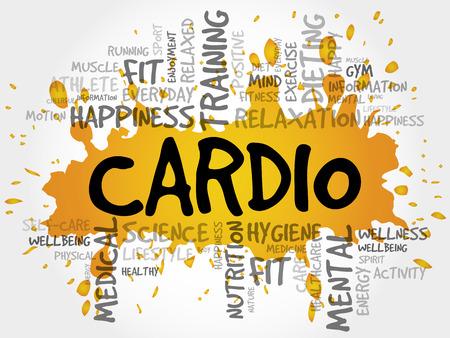 CARDIO-Wortwolkenhintergrund, Gesundheitskonzept Standard-Bild - 79828095
