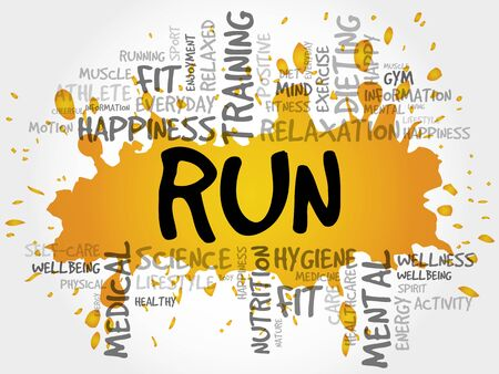 endurance run: RUN word cloud collage, health concept background Illustration