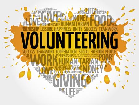 voluntary: Volunteering word cloud, heart concept