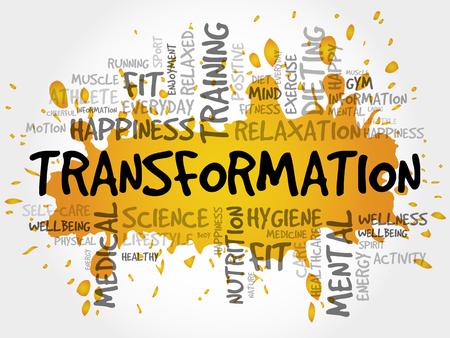 Collage de nuage de mot TRANSFORMATION, fond de concept de santé