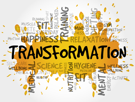 TRANSFORMATION word cloud collage, health concept background Illustration
