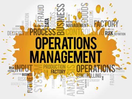 Operations-Management-Wortwolkencollage, Geschäftskonzepthintergrund
