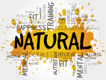 NATURAL word cloud collage, health concept background