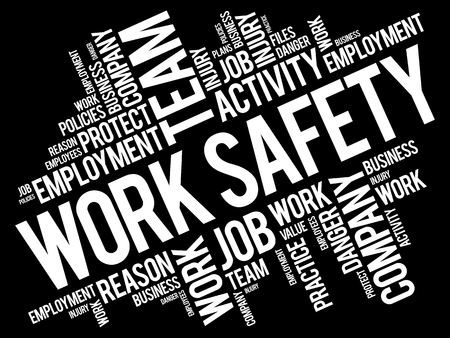 reason: Work Safety word cloud collage with terms such as employee, company, business concept background