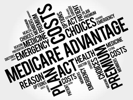 メディケアアドバンテージ単語雲コラージュ、健康概念を背景  イラスト・ベクター素材