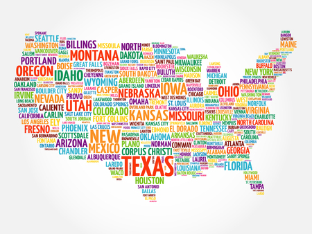 List Of Cities In Texas USA State Word Cloud Map Concept