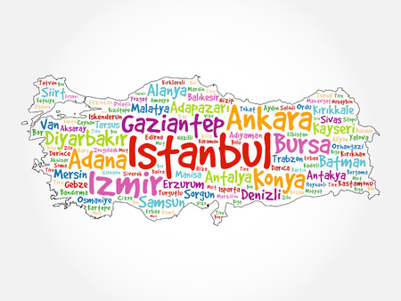 List of cities in Turkey word cloud map, concept background Illustration