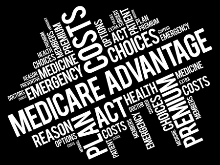 Medicare Advantage word cloud collage, health concept background