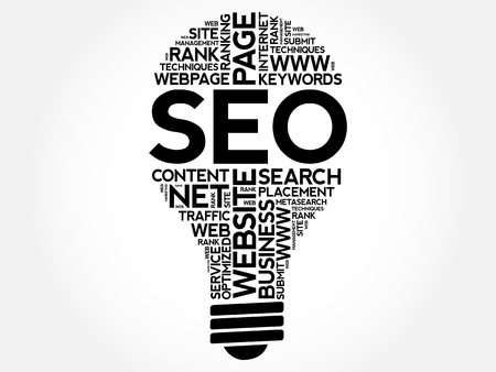 optimizing: SEO (search engine optimization) bulb word cloud collage, business concept background