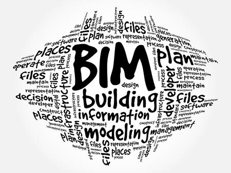 BIM の-建物情報モデリング単語の雲、ビジネス コンセプト  イラスト・ベクター素材