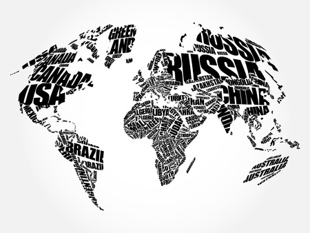 World map in typography word cloud concept names of countries world map in typography word cloud concept names of countries vector gumiabroncs Choice Image
