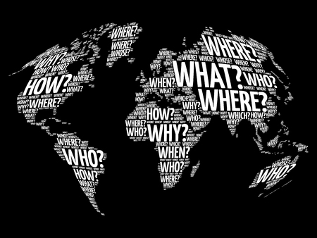 Question Words World Map in Typography, words cloud business concept background