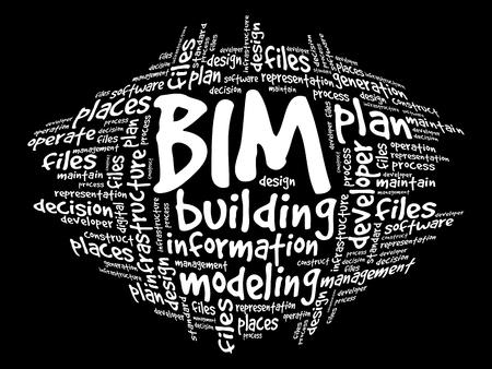 BIM - Building Information Modeling nube de la palabra, concepto de negocio Ilustración de vector