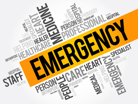 Emergency word cloud collage, healthcare concept background Illustration