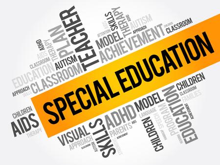 Special Education woord wolk collage, onderwijs concept achtergrond