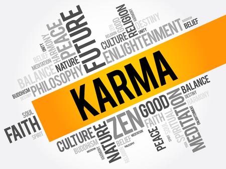 Karma woord wolk collage, religie concept achtergrond