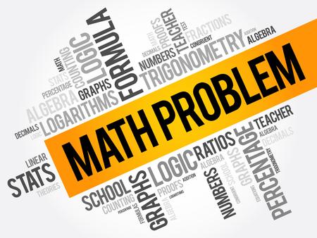 Matematica problema parola nuvola collage, sfondo concetto di formazione Archivio Fotografico - 80060577
