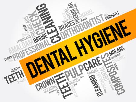 Dental hygiene word cloud collage, health concept background